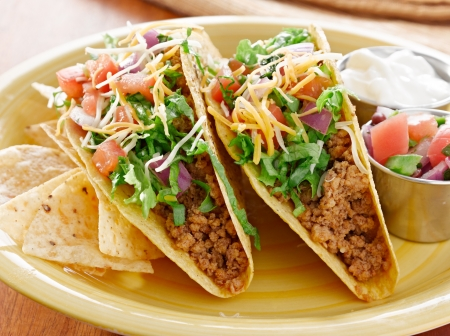 international food: Tacos on a platter with tortillas - mexican food