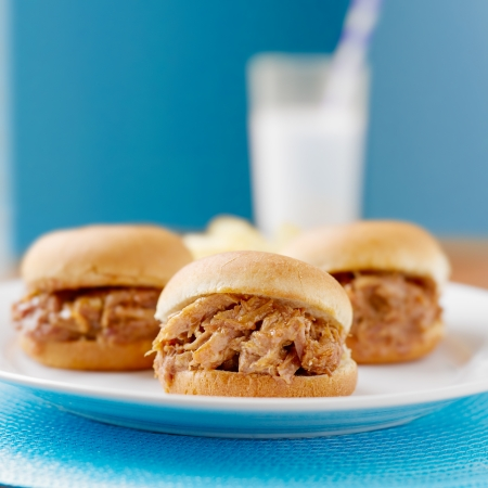 pulled: three pulled pork bbq mini sandwhich sliders