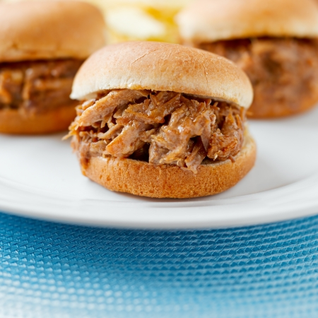 three pulled pork bbq mini sandwhich sliders Stock Photo - 14941221