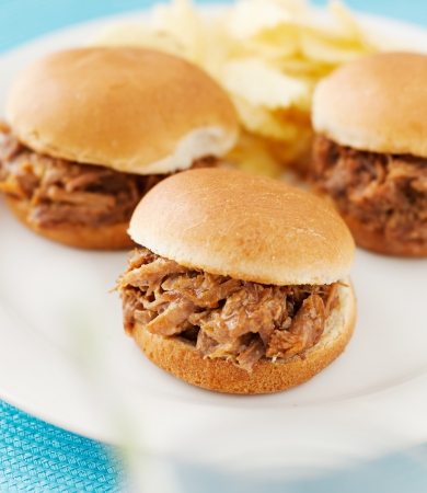 slider: three pulled pork bbq mini sandwhich sliders