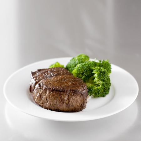 red cooked: beef steak fillet with broccoli with copy space composition