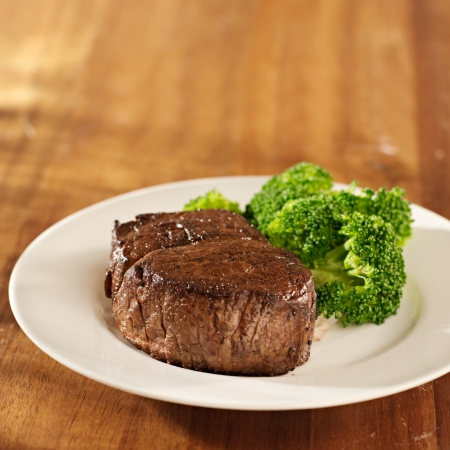 steak beef: steak with broccoli and copys space composition