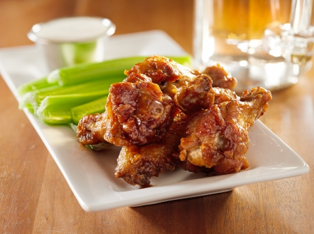 green beer: bbq buffalo wings with celery and ranch.