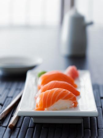 nigiri: colorful salmon nigiri in asian setting