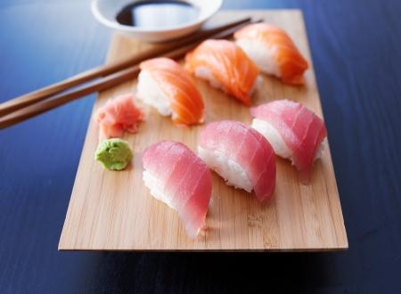 nigiri: colorful plate of sushi nigiri with salmon and tuna Stock Photo