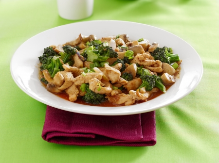chinese food - chicken and broccoli stir fry photo