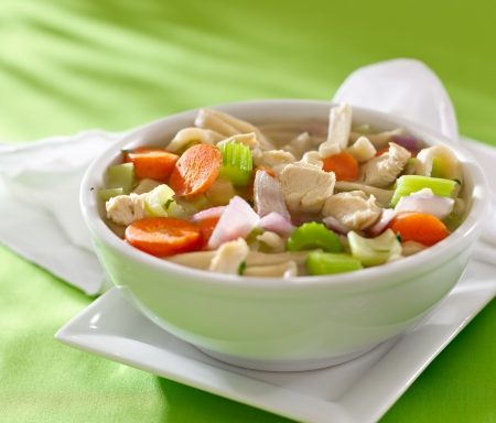 chicken noodle soup: bowl of chicken noodle soup