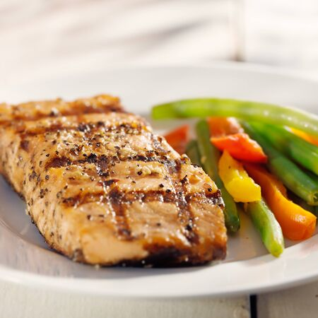 grilled fish: grilled salmon with vegetables Stock Photo