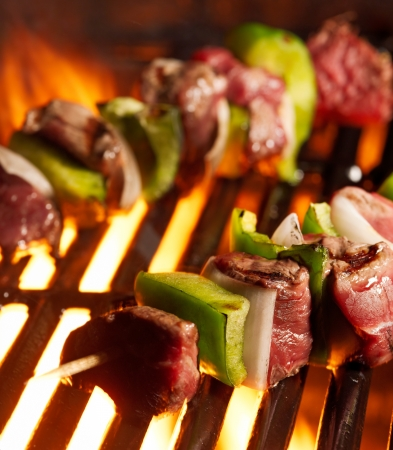 nightime: beef shish kabobs on the grill