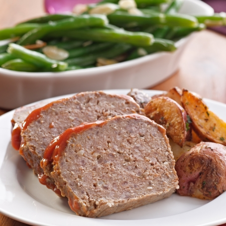 Meat loaf with roasted herb potatoes