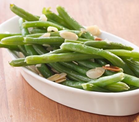 bönor: gröna bönor almondine Stockfoto