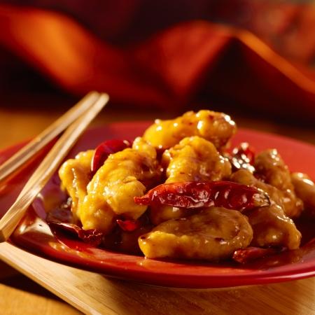 chinesisch essen: Chinese food-General Tso Huhn.