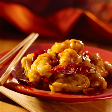 asia food: Chinese food -General Tsos chicken. Stock Photo