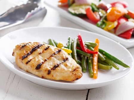 glazed: Summer grilling time - grilled chicken with vegetables.