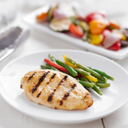 entree: Summer grilling time - grilled chicken with vegetables.