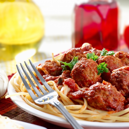 italienisches essen: herzhafte Spaghetti-Essen