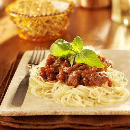 Spaghetti with basil garnish and tomato sauce.