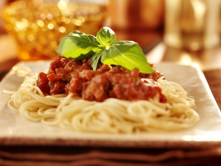 Spaghetti with basil garnish and tomato sauce. Stock Photo - 15529410