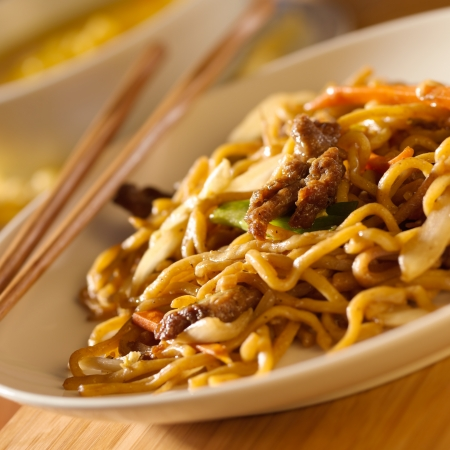 chinese noodle: Chinese food - Beef lo mein Stock Photo
