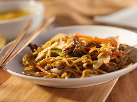 asian foods: Chinese food - Beef lo mein Stock Photo