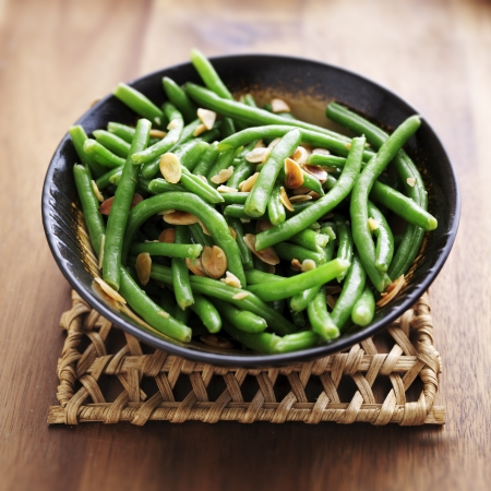 Green beans with almonds 스톡 콘텐츠