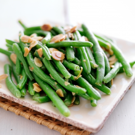 green beans: Green beans with almonds Stock Photo