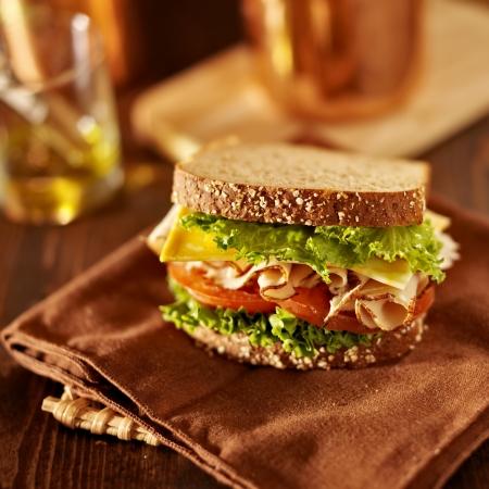 Deli vlees sandwich met kalkoen Stockfoto