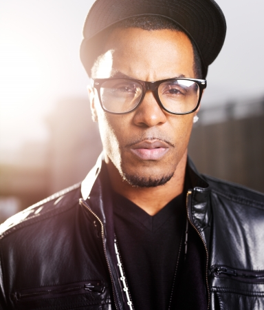 subculture: cool urban african american man close up Stock Photo