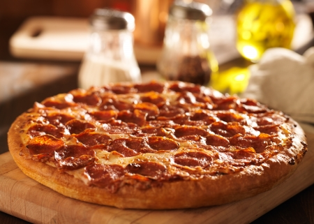 Pepperoni pizza at restaurant photo