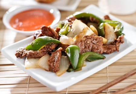 international food: Chinese food - Pepper beef at restaurant