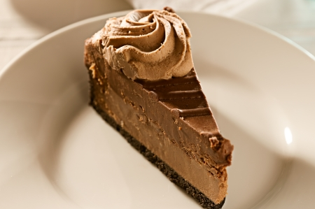 chocolate cheesecake with mint garnish. photo