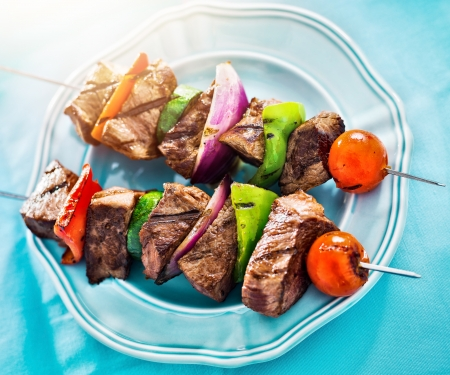kebob: grilled beef shishkabobs viewed from high angle