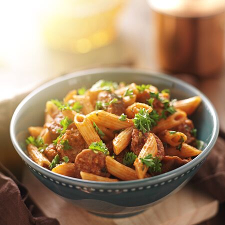 bowl of rigatoni pasta with sausage Stock Photo - 21585421