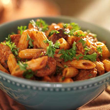 bowl of rigatoni pasta with sausage Stock Photo - 21585425