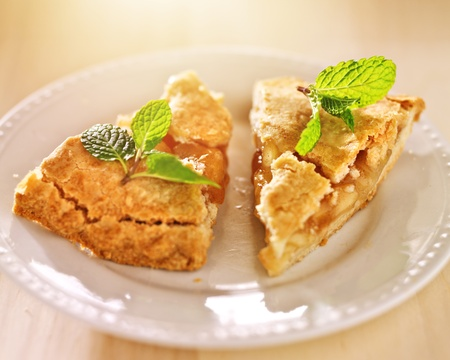 apple pie with mint garnish in warm sunlight Stock Photo - 21957486