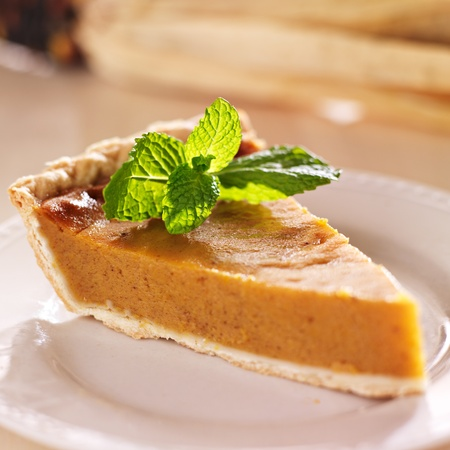 pumpkin pie with mint garnish closeup photo