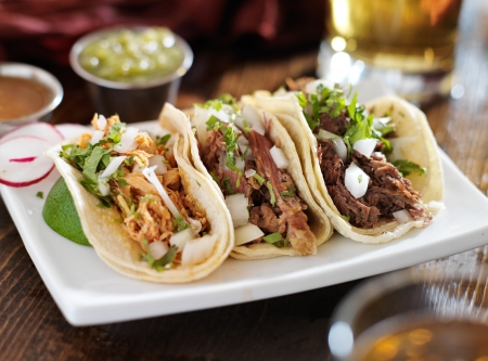 authentic mexican barbacoa, carnitas and chicken tacos Stock Photo - 21957524