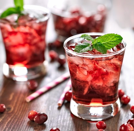 cocktail glasses: cranberry cocktail with mint garnish.