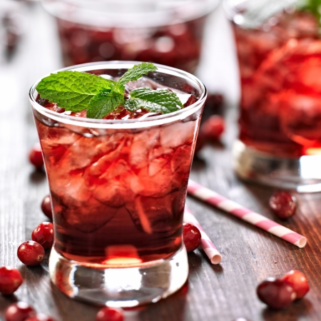alcoholic drinks: cranberry cocktail with mint garnish.