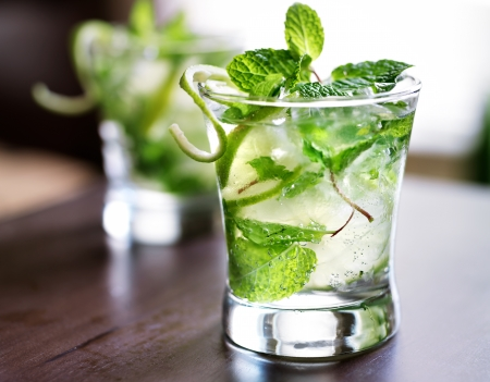alcoholic drink: cocktail - two cold mojitos Stock Photo