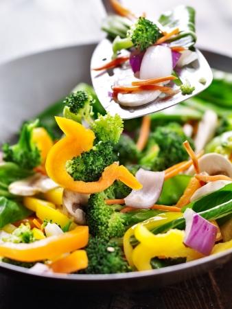 cuisines: spatula  stirring vegetables in a stir fry wok