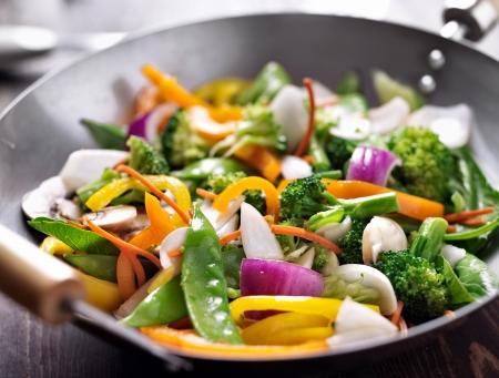 채식주의 냄비 볶음 튀김 스톡 콘텐츠