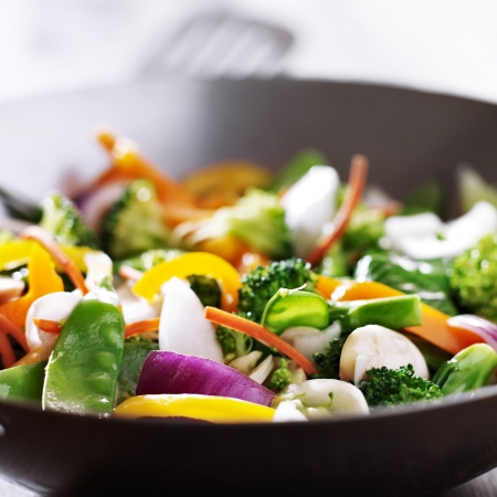 stir up: vegetarian wok stir fry close up