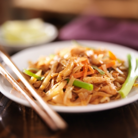 close up food: pad thai with chicken dish