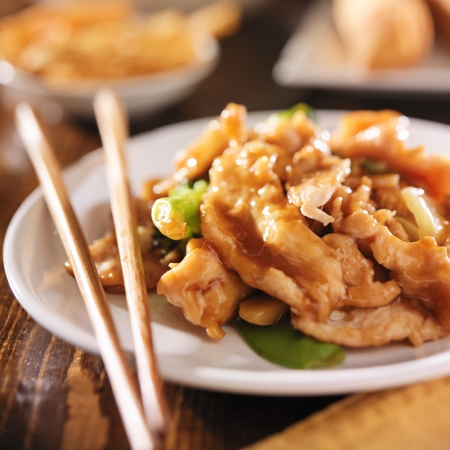 close up food: chinese food - stir fry chicken with vegetables Stock Photo