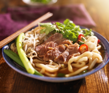 vietnamese food: bowl of pho with beef, vietnamese soup Stock Photo