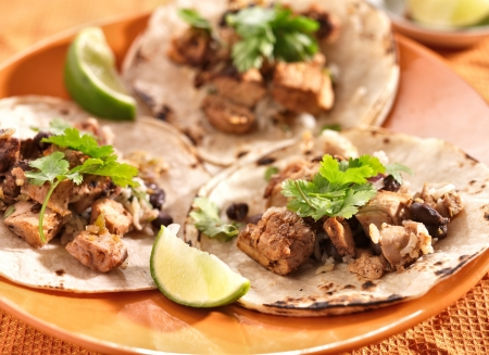 authentic mexican tacos in soft corn tortilla photo