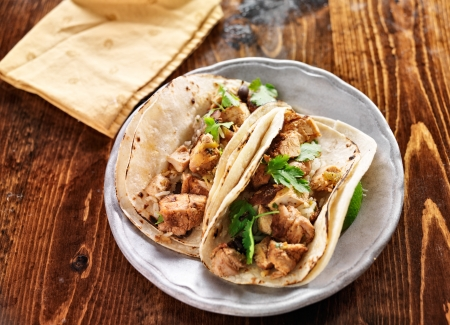 authentic mexican tacos with chicken and cilantro photo