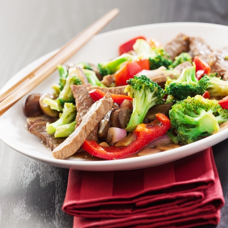 take out food: chinese stir fry with beef and vegetables