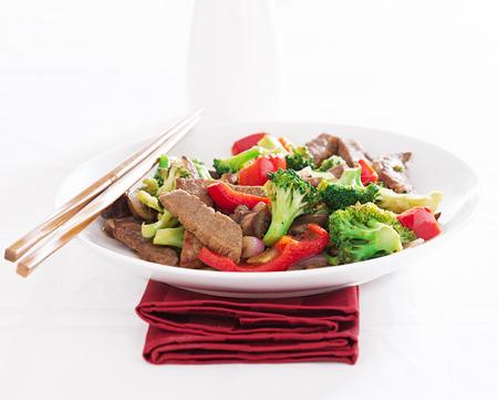야채와 쇠고기 볶음 튀김 스톡 콘텐츠
